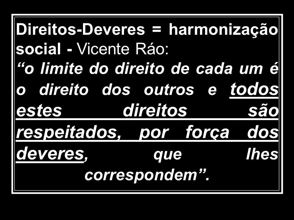 Direitos-Deveres = harmonização social - Vicente Ráo: o limite do direito de cada um é o direito dos outros e todos estes direitos são respeitados, po