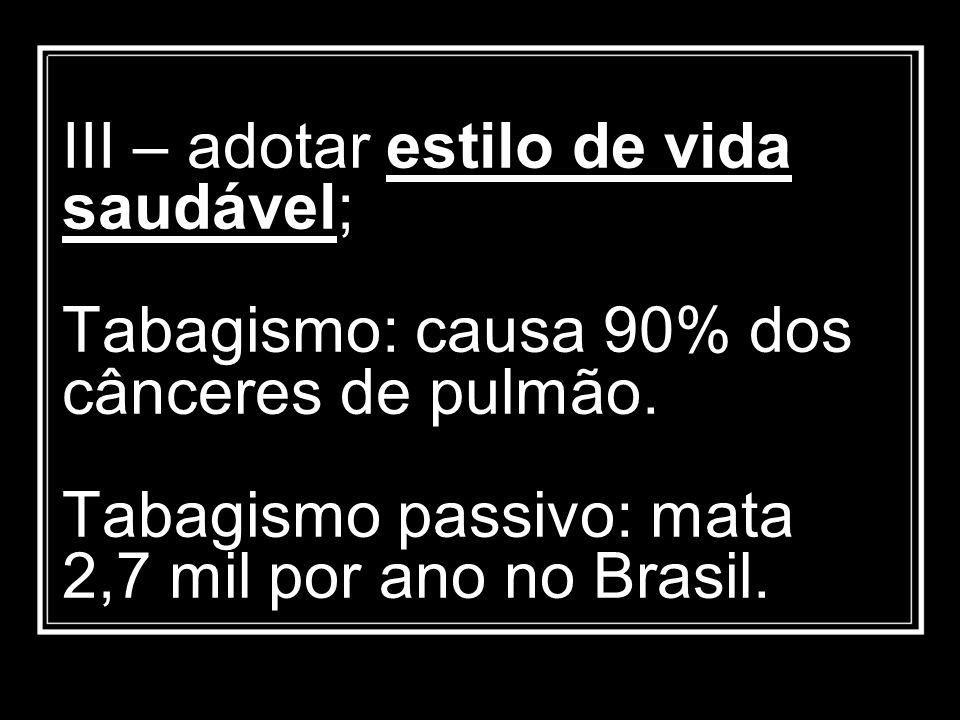 III – adotar estilo de vida saudável; Tabagismo: causa 90% dos cânceres de pulmão. Tabagismo passivo: mata 2,7 mil por ano no Brasil.