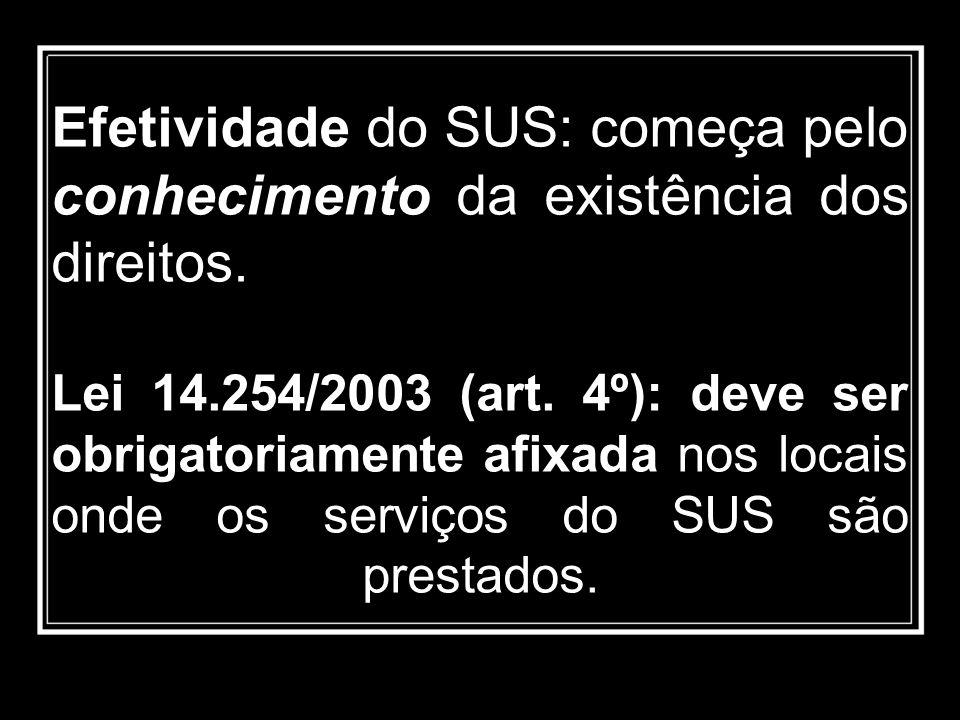 Efetividade do SUS: começa pelo conhecimento da existência dos direitos. Lei 14.254/2003 (art. 4º): deve ser obrigatoriamente afixada nos locais onde