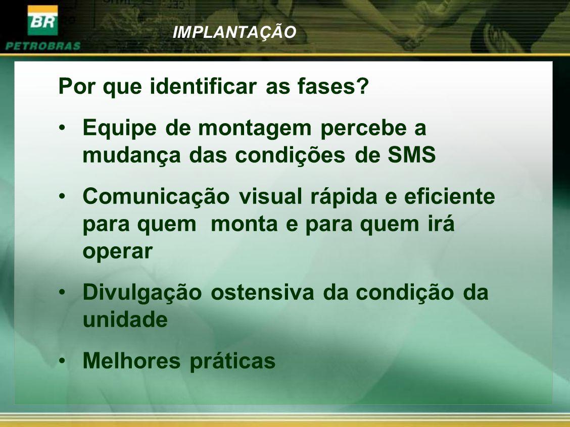 IMPLANTAÇÃO Por que identificar as fases? Equipe de montagem percebe a mudança das condições de SMS Comunicação visual rápida e eficiente para quem mo