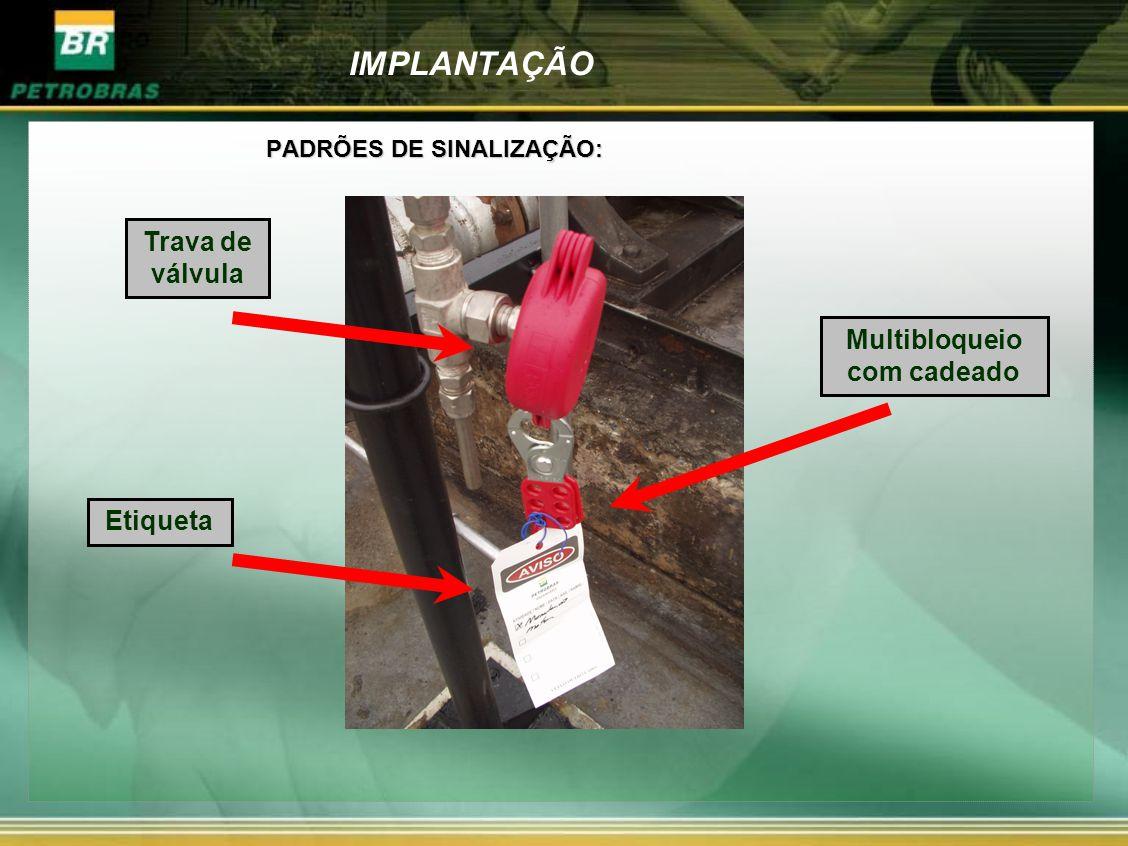 IMPLANTAÇÃO PADRÕES DE SINALIZAÇÃO: Multibloqueio com cadeado Trava de válvula Etiqueta