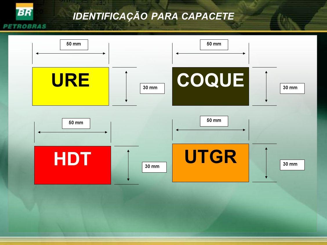 IDENTIFICAÇÃO PARA CAPACETE URE 50 mm 30 mm HDT 50 mm 30 mm COQUE 50 mm 30 mm UTGR 50 mm 30 mm