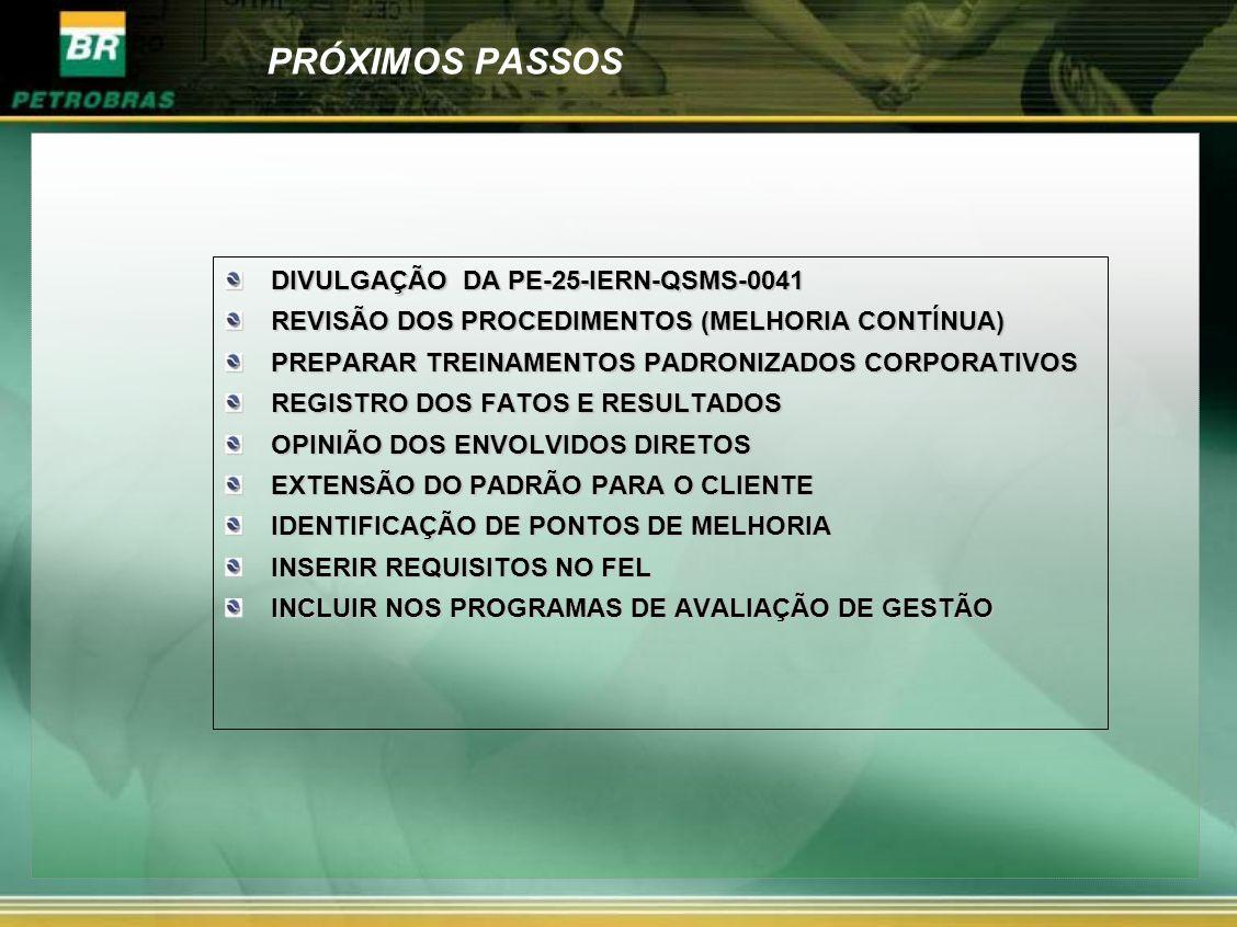 PRÓXIMOS PASSOS DIVULGAÇÃO DA PE-25-IERN-QSMS-0041 REVISÃO DOS PROCEDIMENTOS (MELHORIA CONTÍNUA) PREPARAR TREINAMENTOS PADRONIZADOS CORPORATIVOS REGIS