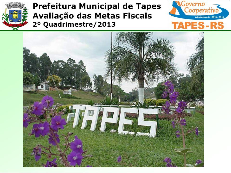 Prefeitura Municipal de Tapes Avaliação das Metas Fiscais 2º Quadrimestre/2013 Como se verifica, a dívida pública consolidada apresentou saldo de R$ 2.961.758,68.