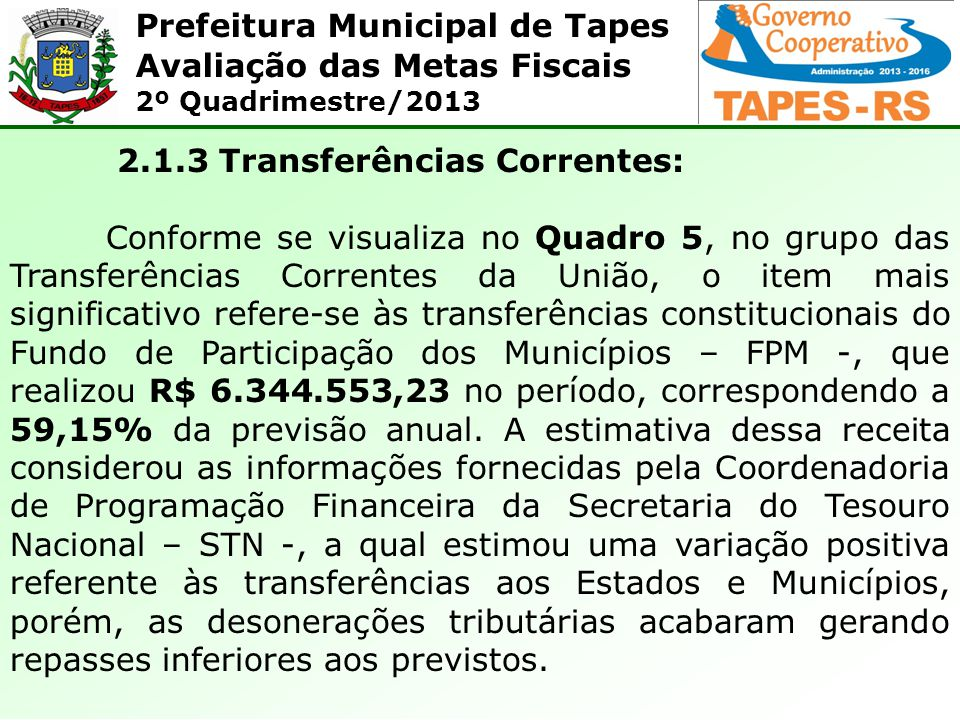 Prefeitura Municipal de Tapes Avaliação das Metas Fiscais 2º Quadrimestre/2013 2.1.3 Transferências Correntes: Conforme se visualiza no Quadro 5, no g