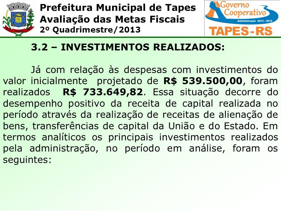 Prefeitura Municipal de Tapes Avaliação das Metas Fiscais 2º Quadrimestre/2013 3.2 – INVESTIMENTOS REALIZADOS: Já com relação às despesas com investim