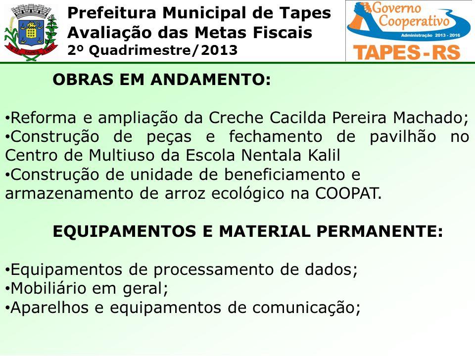 Prefeitura Municipal de Tapes Avaliação das Metas Fiscais 2º Quadrimestre/2013 OBRAS EM ANDAMENTO: Reforma e ampliação da Creche Cacilda Pereira Macha