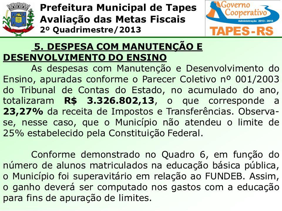 Prefeitura Municipal de Tapes Avaliação das Metas Fiscais 2º Quadrimestre/2013 5. DESPESA COM MANUTENÇÃO E DESENVOLVIMENTO DO ENSINO As despesas com M