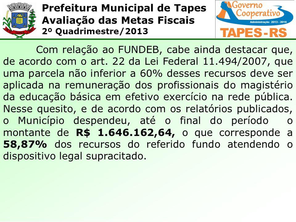 Prefeitura Municipal de Tapes Avaliação das Metas Fiscais 2º Quadrimestre/2013 Com relação ao FUNDEB, cabe ainda destacar que, de acordo com o art. 22