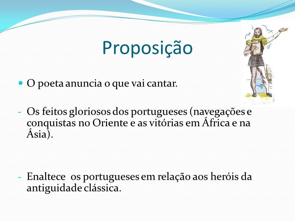 Proposição O poeta anuncia o que vai cantar. - Os feitos gloriosos dos portugueses (navegações e conquistas no Oriente e as vitórias em África e na Ás