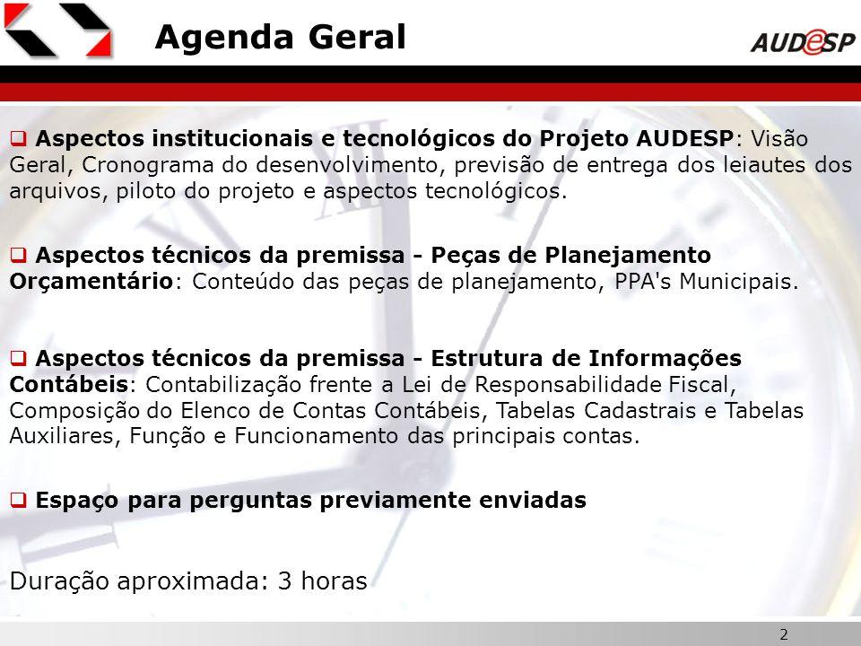 2 Agenda Geral Aspectos institucionais e tecnológicos do Projeto AUDESP: Visão Geral, Cronograma do desenvolvimento, previsão de entrega dos leiautes