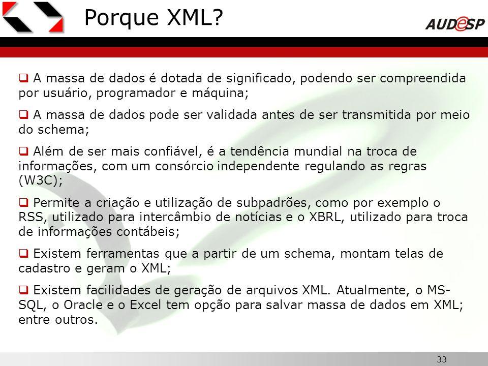 33 Porque XML? A massa de dados é dotada de significado, podendo ser compreendida por usuário, programador e máquina; A massa de dados pode ser valida