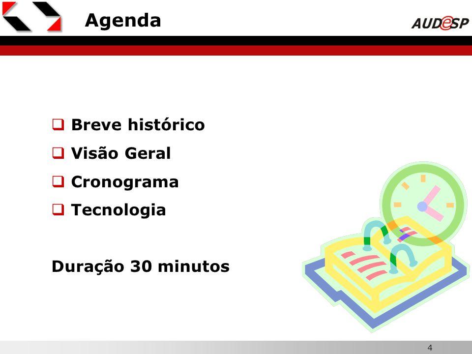 4 Agenda Breve histórico Visão Geral Cronograma Tecnologia Duração 30 minutos