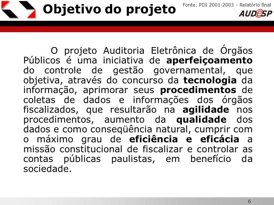 6 X Objetivo do projeto Fonte: PDI 2001-2003 - Relatório final O projeto Auditoria Eletrônica de Órgãos Públicos é uma iniciativa de aperfeiçoamento d