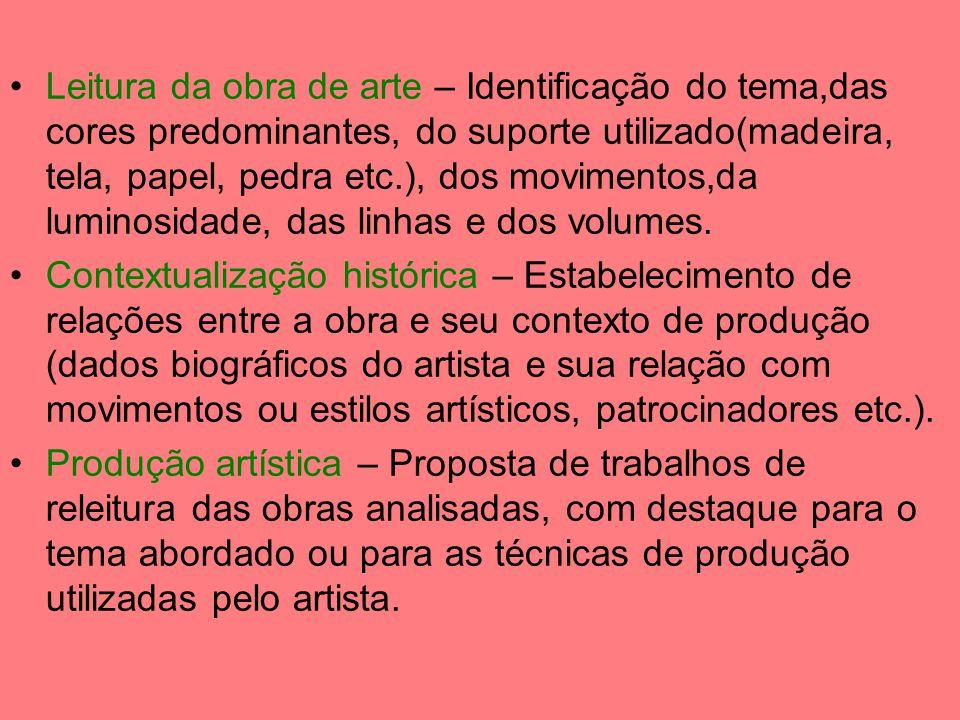 Leitura da obra de arte – Identificação do tema,das cores predominantes, do suporte utilizado(madeira, tela, papel, pedra etc.), dos movimentos,da lum