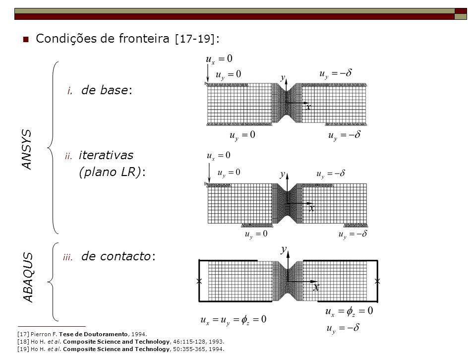 Condições de fronteira [17-19] : Flexão no plano i. de base: ii. iterativas (plano LR): iii. de contacto: ANSYS ABAQUS [17] Pierron F. Tese de Doutora