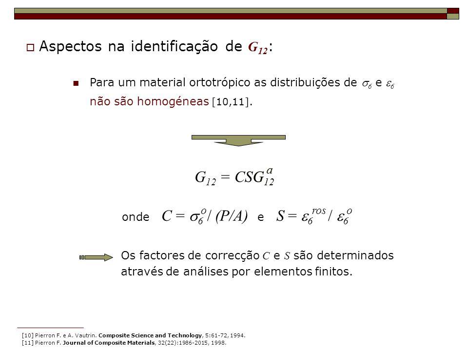 Para um material ortotrópico as distribuições de 6 e 6 não são homogéneas [10,11]. Os factores de correcção C e S são determinados através de análises
