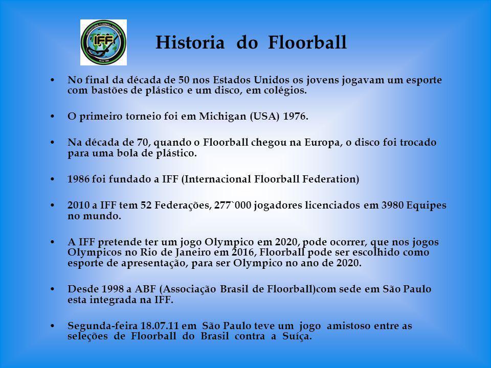 Historia do Floorball No final da década de 50 nos Estados Unidos os jovens jogavam um esporte com bastões de plástico e um disco, em colégios. O prim