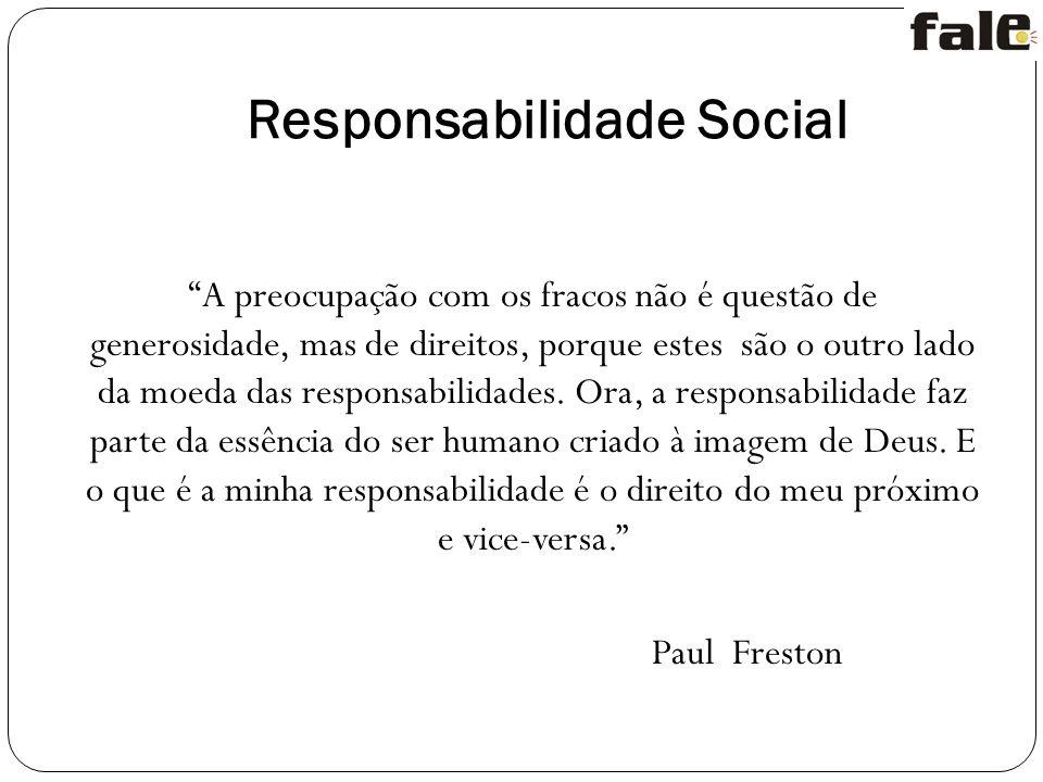 Responsabilidade Social A preocupação com os fracos não é questão de generosidade, mas de direitos, porque estes são o outro lado da moeda das responsabilidades.