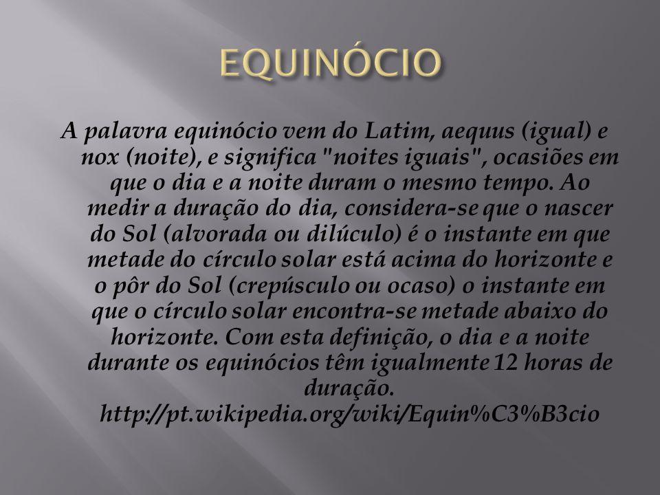 Em astronomia, equinócio é definido como um dos dois momentos em que o Sol, em sua órbita aparente (como vista da Terra), cruza o plano do equador cel