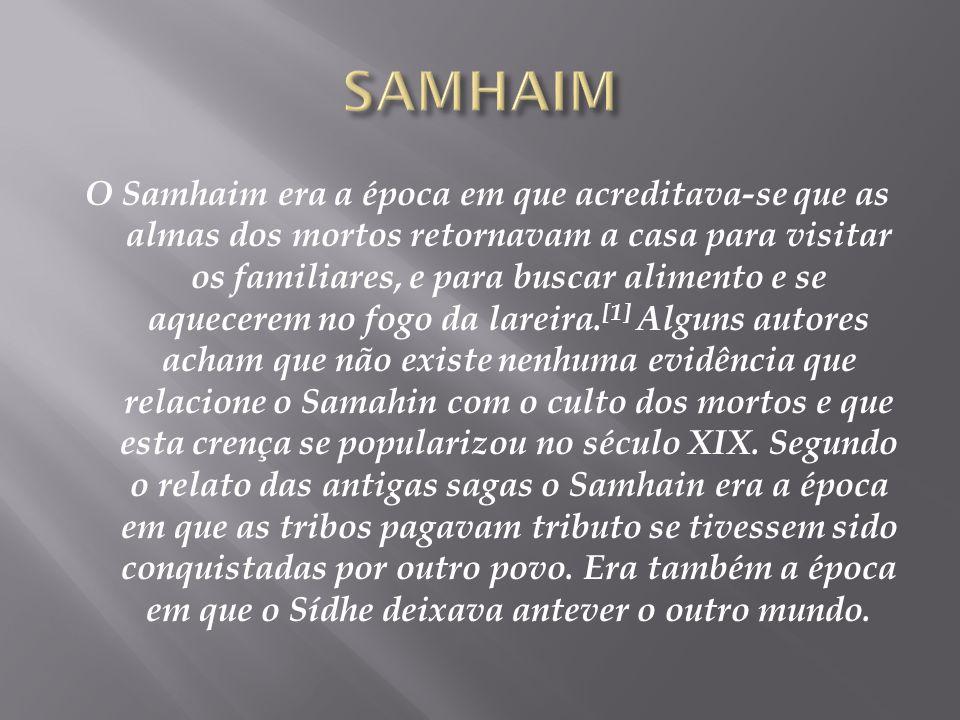 Samhaim (em irlandês Samhain, gaélico escocês Samhuinn, manês Sauin, e em gaulês Samonios) era o festival em que se comemora a passagem do ano dos cel