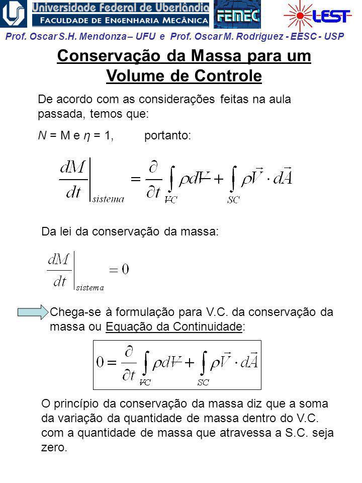 Prof. Oscar S.H. Mendonza – UFU e Prof. Oscar M. Rodriguez - EESC - USP Conservação da Massa para um Volume de Controle De acordo com as considerações