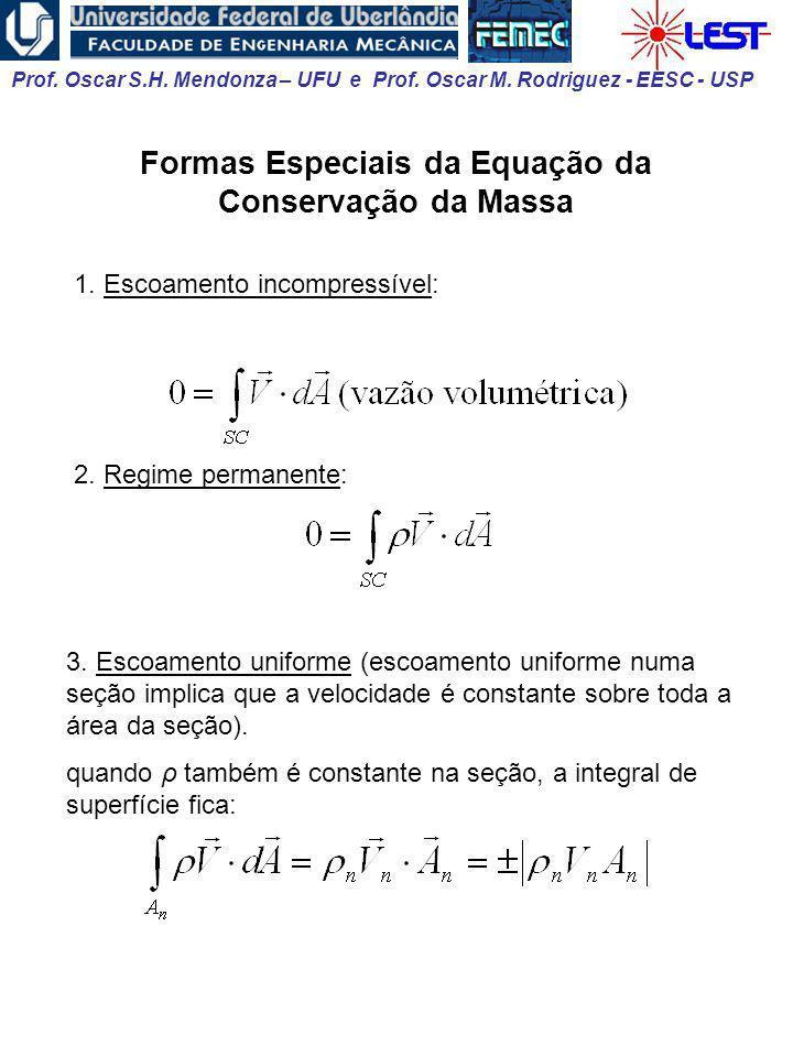 Prof. Oscar S.H. Mendonza – UFU e Prof. Oscar M. Rodriguez - EESC - USP Formas Especiais da Equação da Conservação da Massa 1. Escoamento incompressív