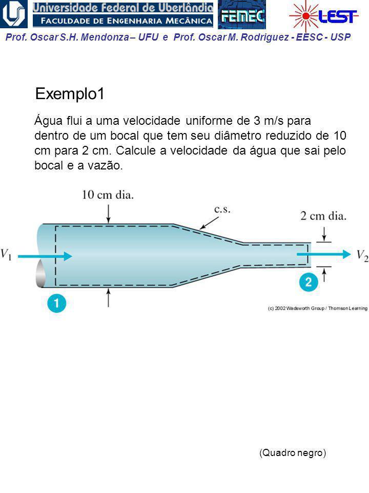 Prof. Oscar S.H. Mendonza – UFU e Prof. Oscar M. Rodriguez - EESC - USP Água flui a uma velocidade uniforme de 3 m/s para dentro de um bocal que tem s