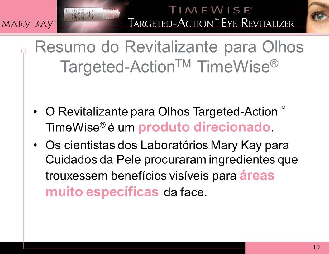 10 Resumo do Revitalizante para Olhos Targeted-Action TM TimeWise ® O Revitalizante para Olhos Targeted-Action TimeWise ® é um produto direcionado.