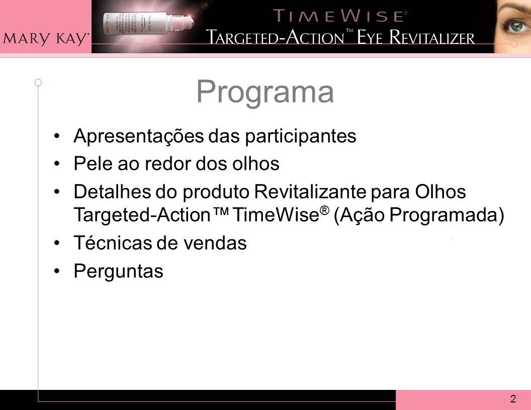 2 Programa Apresentações das participantes Pele ao redor dos olhos Detalhes do produto Revitalizante para Olhos Targeted-Action TimeWise ® (Ação Programada) Técnicas de vendas Perguntas