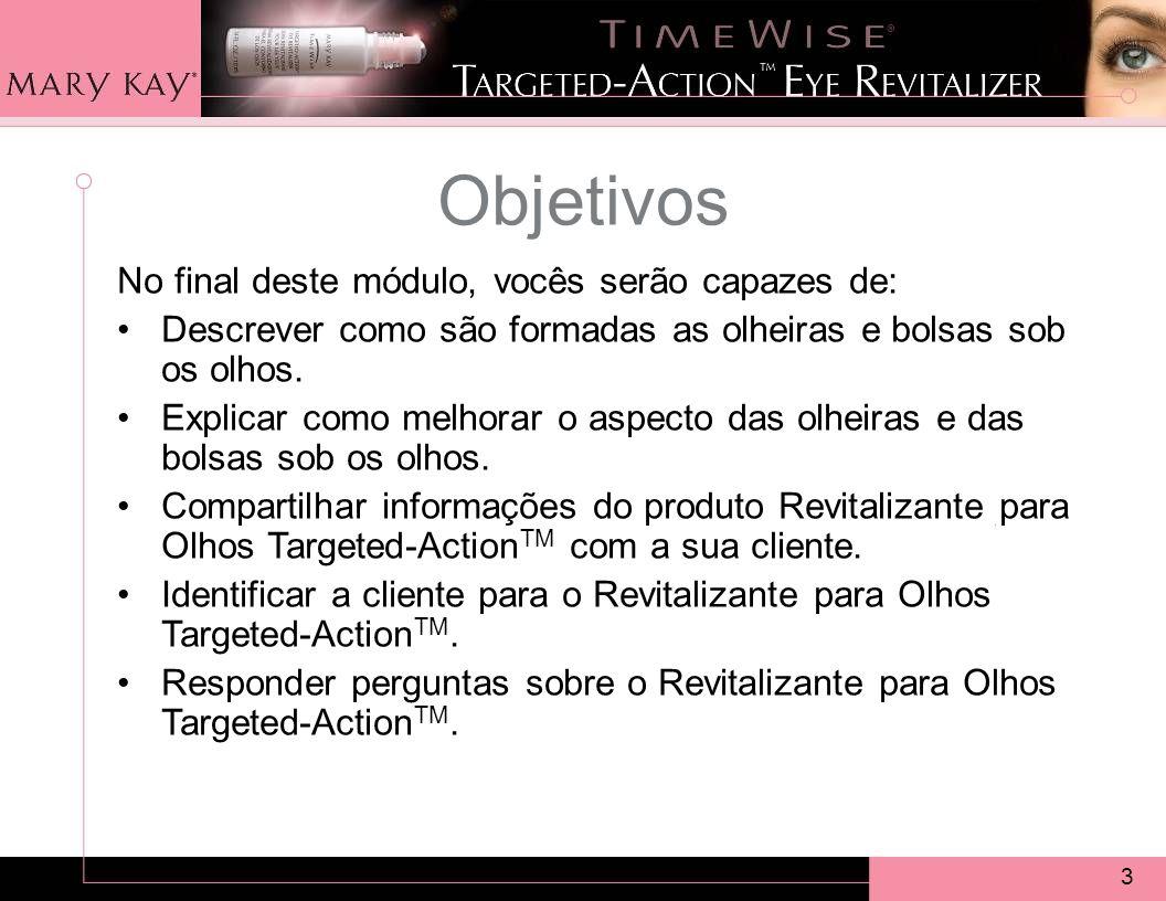 3 Objetivos No final deste módulo, vocês serão capazes de: Descrever como são formadas as olheiras e bolsas sob os olhos.