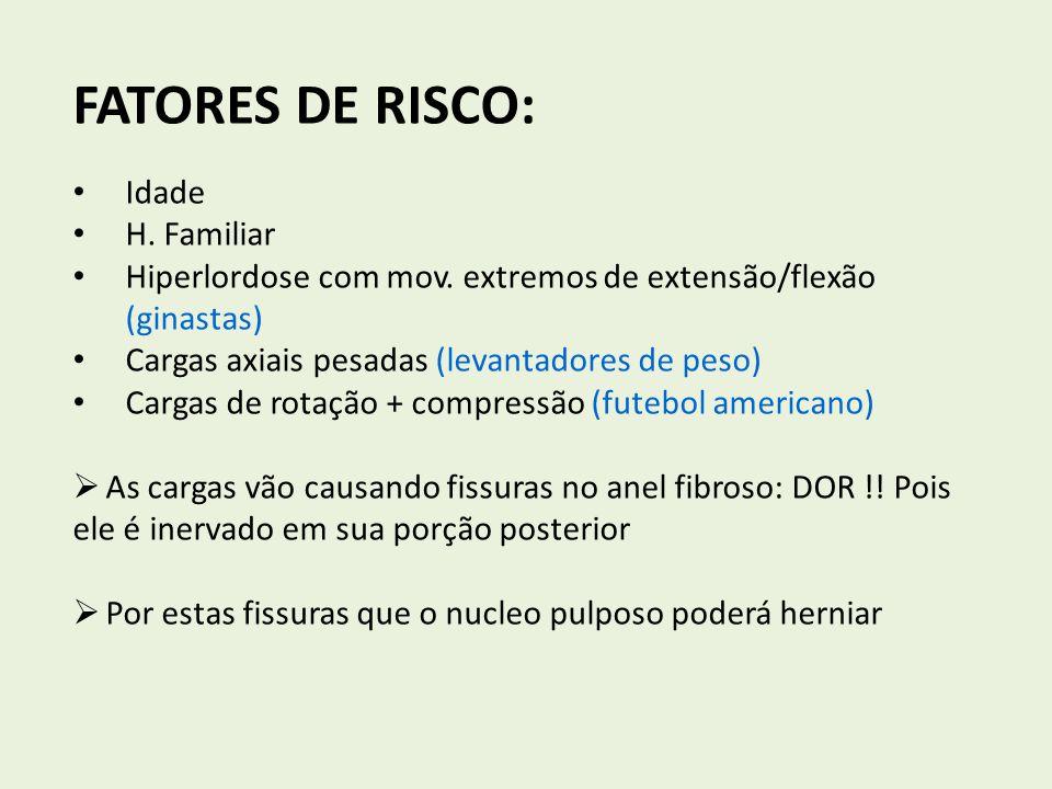 FATORES DE RISCO: Idade H. Familiar Hiperlordose com mov. extremos de extensão/flexão (ginastas) Cargas axiais pesadas (levantadores de peso) Cargas d