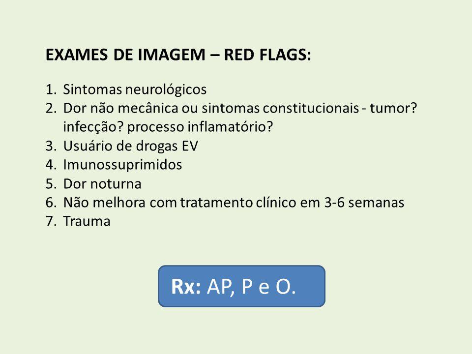 EXAMES DE IMAGEM – RED FLAGS: 1.Sintomas neurológicos 2.Dor não mecânica ou sintomas constitucionais - tumor? infecção? processo inflamatório? 3.Usuár