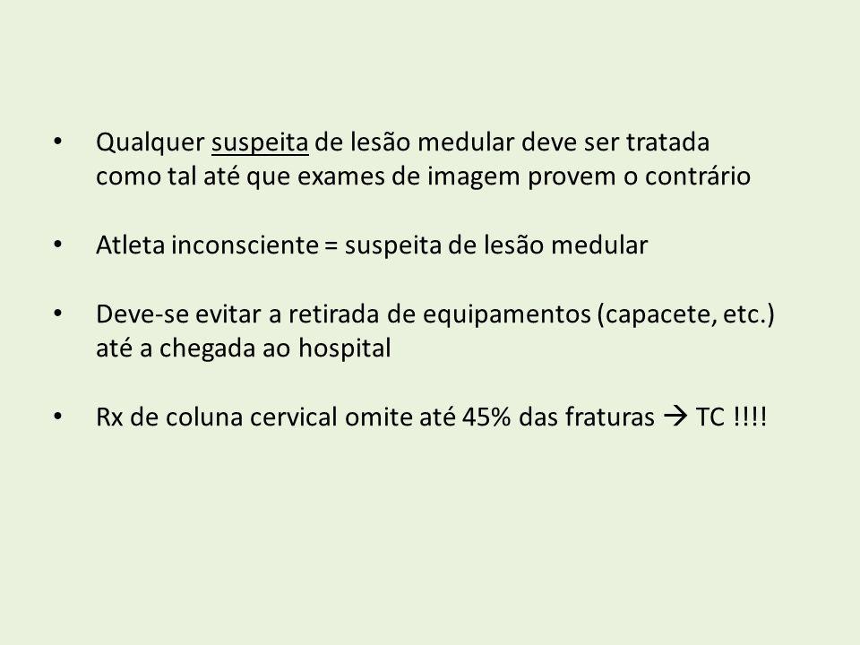 Qualquer suspeita de lesão medular deve ser tratada como tal até que exames de imagem provem o contrário Atleta inconsciente = suspeita de lesão medul