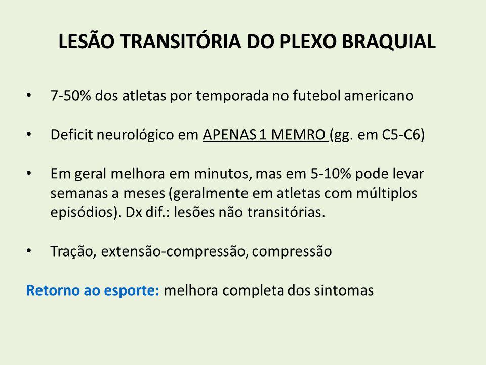 LESÃO TRANSITÓRIA DO PLEXO BRAQUIAL 7-50% dos atletas por temporada no futebol americano Deficit neurológico em APENAS 1 MEMRO (gg. em C5-C6) Em geral