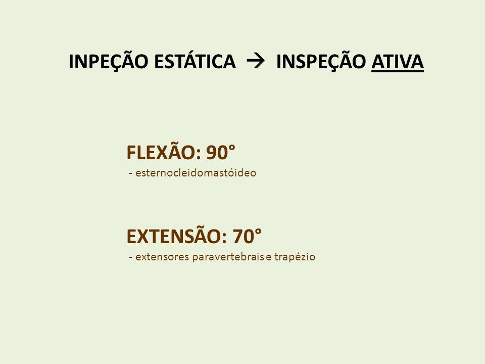 INPEÇÃO ESTÁTICA INSPEÇÃO ATIVA FLEXÃO: 90° - esternocleidomastóideo EXTENSÃO: 70° - extensores paravertebrais e trapézio