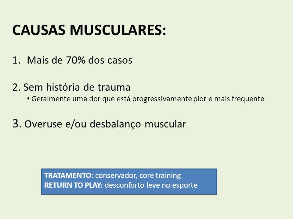 CAUSAS MUSCULARES: 1.Mais de 70% dos casos 2. Sem história de trauma Geralmente uma dor que está progressivamente pior e mais frequente 3. Overuse e/o