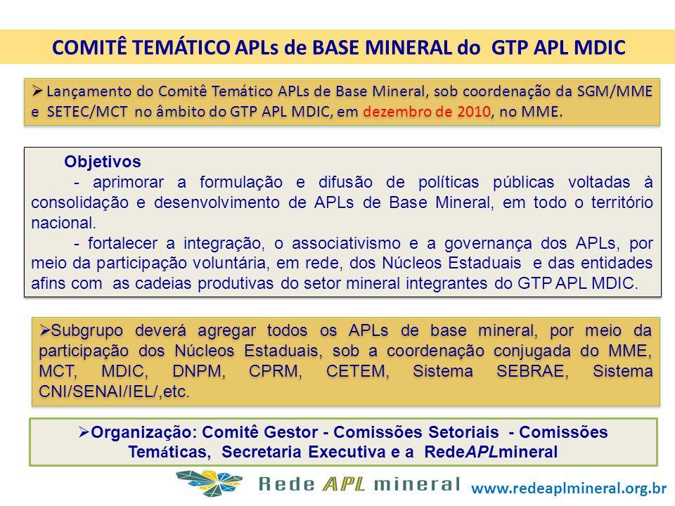 COMITÊ TEMÁTICO APLs de BASE MINERAL do GTP APL MDIC Lançamento do Comitê Temático APLs de Base Mineral, sob coordenação da SGM/MME e SETEC/MCT no âmb