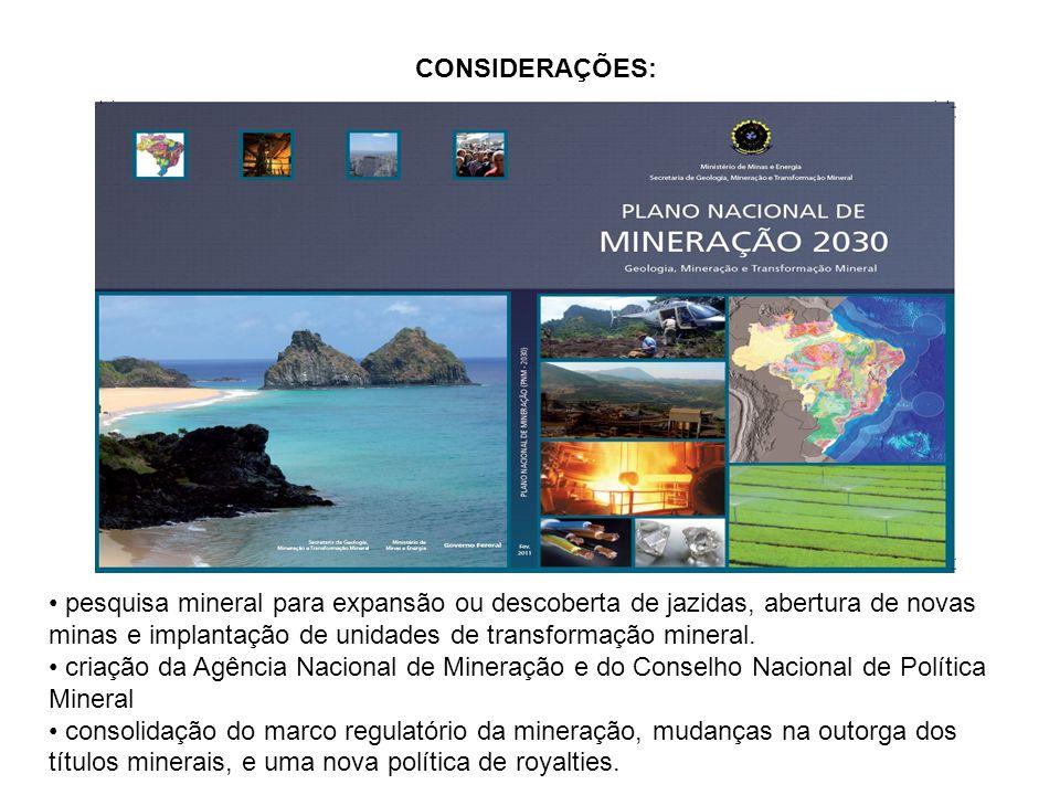 CONSIDERAÇÕES: Investimento de R$ 350 bi no setor pesquisa mineral para expansão ou descoberta de jazidas, abertura de novas minas e implantação de un