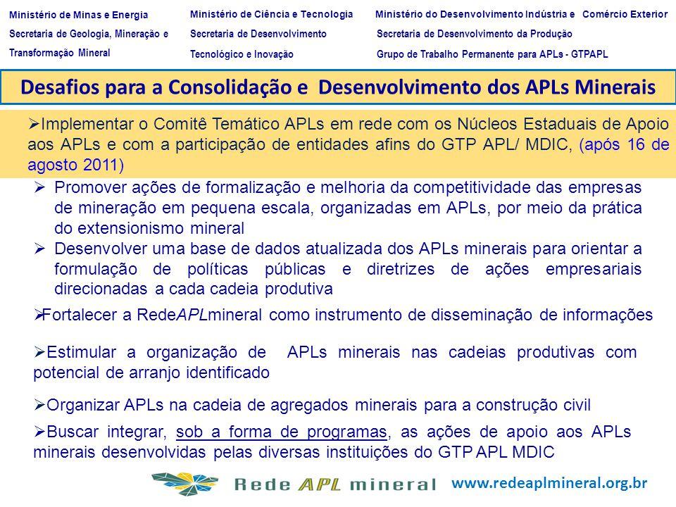 www.redeaplmineral.org.br Desafios para a Consolidação e Desenvolvimento dos APLs Minerais Implementar o Comitê Temático APLs em rede com os Núcleos E