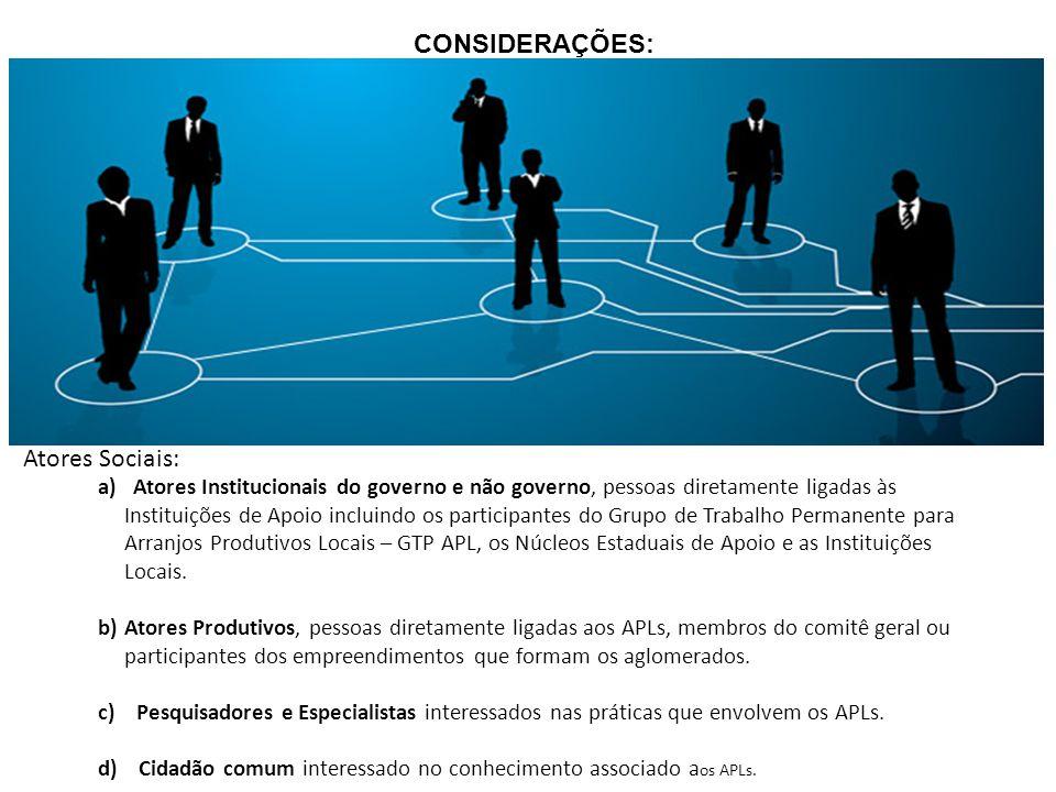 Atores Sociais: a) Atores Institucionais do governo e não governo, pessoas diretamente ligadas às Instituições de Apoio incluindo os participantes do