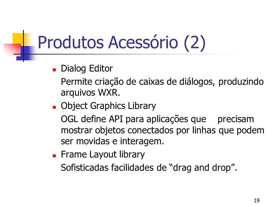 19 Produtos Acessório (2) Dialog Editor Permite criação de caixas de diálogos, produzindo arquivos WXR.