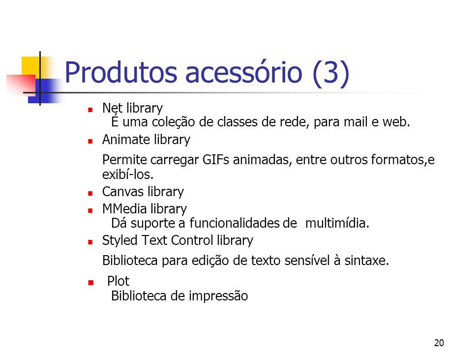 20 Produtos acessório (3) Net library É uma coleção de classes de rede, para mail e web.