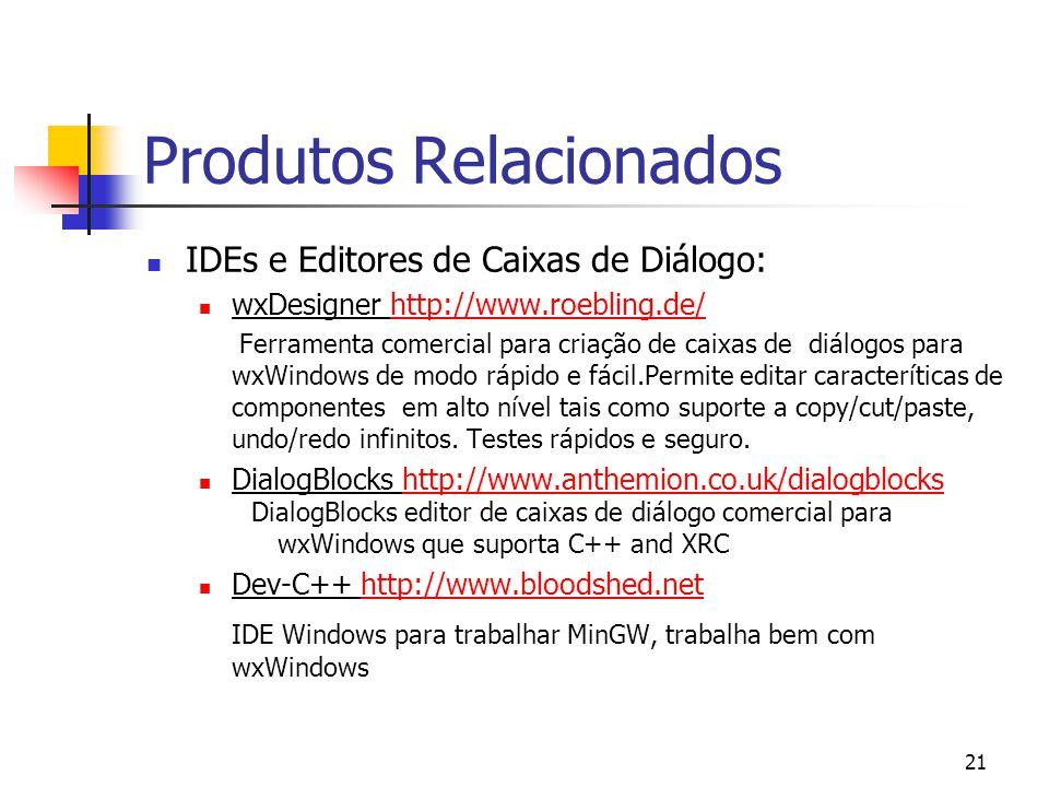 21 Produtos Relacionados IDEs e Editores de Caixas de Diálogo: wxDesigner http://www.roebling.de/http://www.roebling.de/ Ferramenta comercial para criação de caixas de diálogos para wxWindows de modo rápido e fácil.Permite editar caracteríticas de componentes em alto nível tais como suporte a copy/cut/paste, undo/redo infinitos.