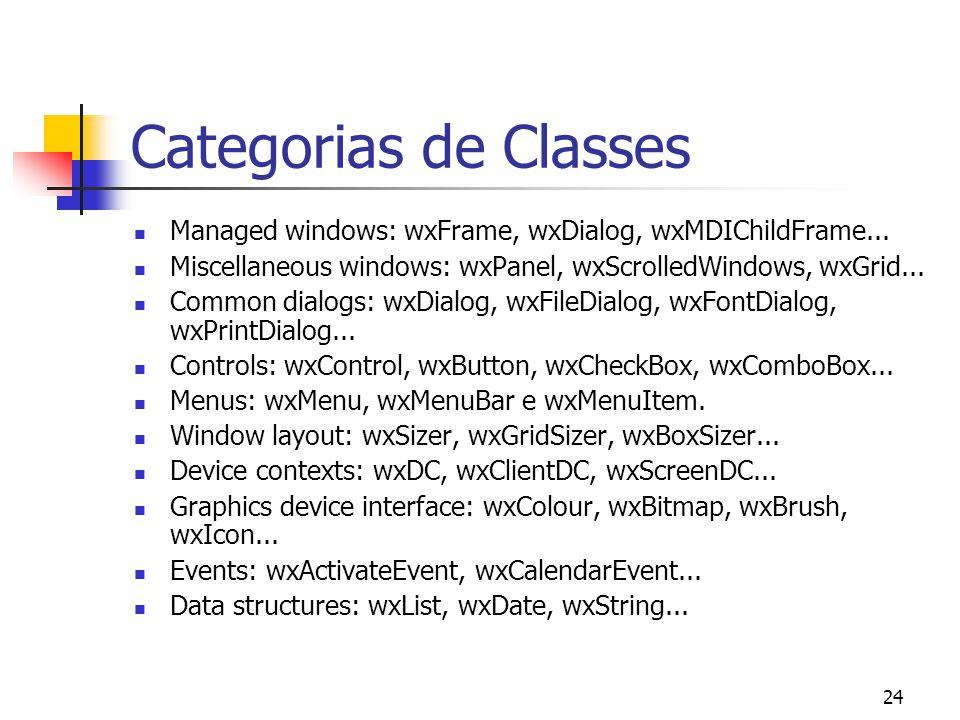 24 Categorias de Classes Managed windows: wxFrame, wxDialog, wxMDIChildFrame...