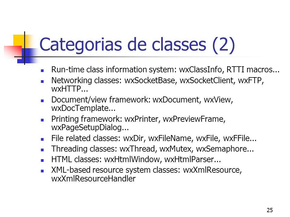 25 Categorias de classes (2) Run-time class information system: wxClassInfo, RTTI macros...