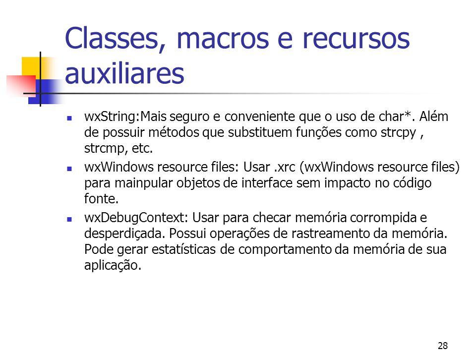 28 Classes, macros e recursos auxiliares wxString:Mais seguro e conveniente que o uso de char*.