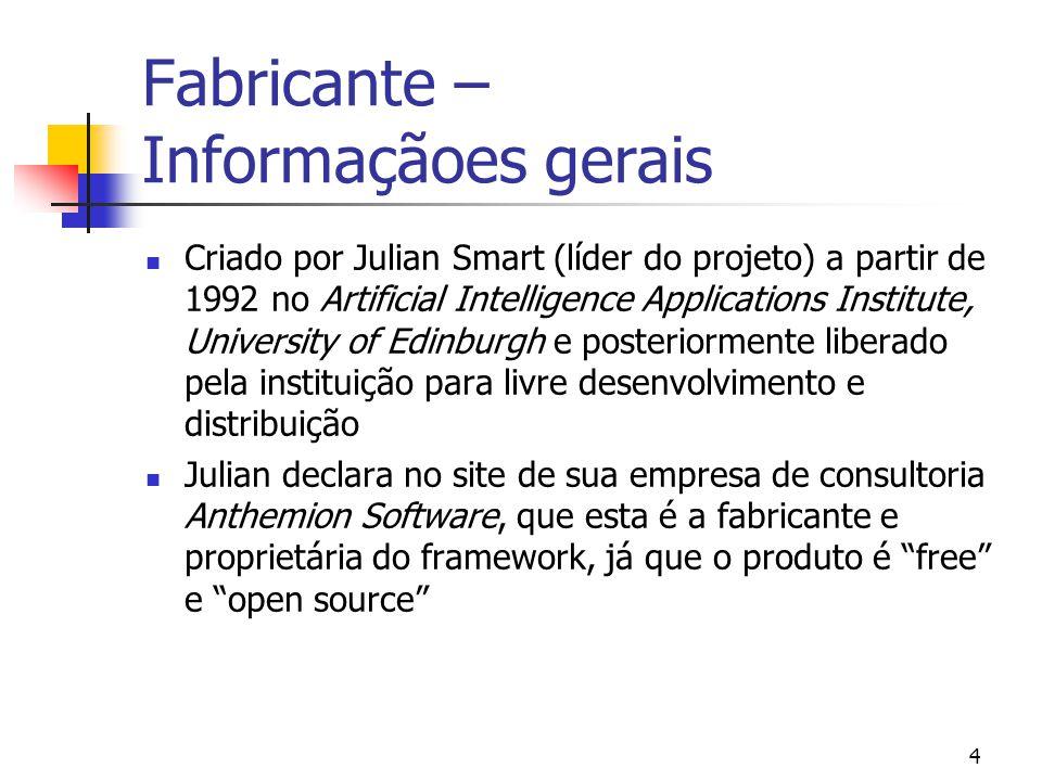 5 Fabricante – Informaçãoes gerais (2) Julian estava elaborando uma ferramenta meta-CASE chamada Hardy que precisava rodar em Windows e em workstations X-based Unix.