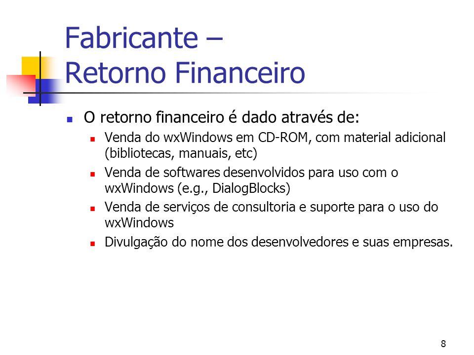 8 Fabricante – Retorno Financeiro O retorno financeiro é dado através de: Venda do wxWindows em CD-ROM, com material adicional (bibliotecas, manuais, etc) Venda de softwares desenvolvidos para uso com o wxWindows (e.g., DialogBlocks) Venda de serviços de consultoria e suporte para o uso do wxWindows Divulgação do nome dos desenvolvedores e suas empresas.