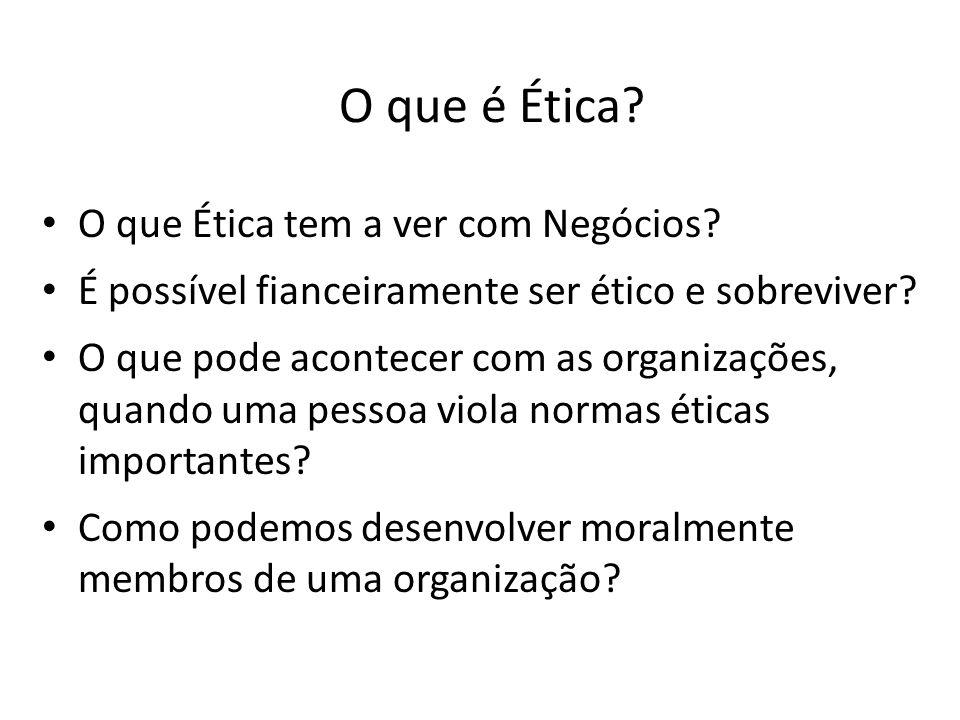 O que é Ética? O que Ética tem a ver com Negócios? É possível fianceiramente ser ético e sobreviver? O que pode acontecer com as organizações, quando
